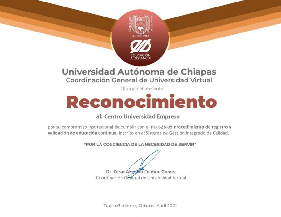 Reconocimiento al Centro Universidad Empresa